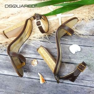 New Dsquared Leather Block Heel Sandals US 8